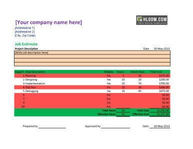 Free Estimate Forms For Contractors 8 Job Estimate Templates Word ...
