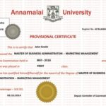 Indian University Provisional Degree Certificate