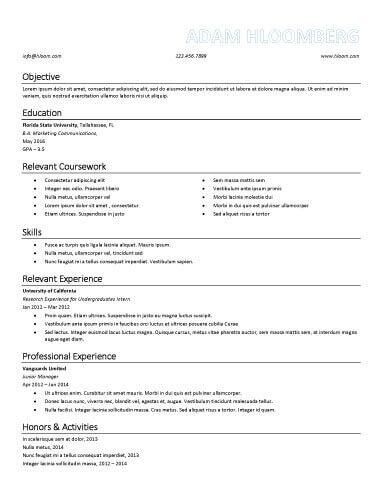 Internship Resume Sample 14