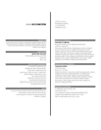 Internship Resume Sample 2
