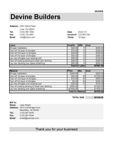 Roofing Invoice Template for Labor and Material