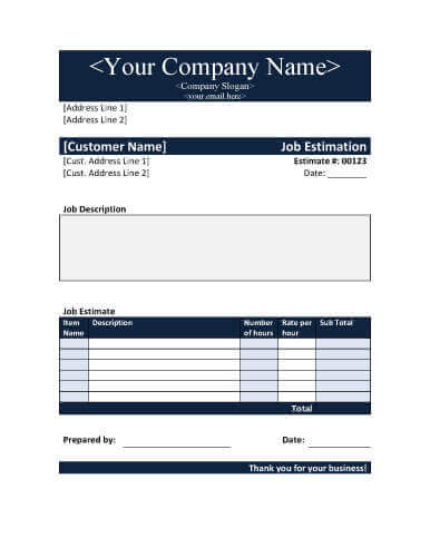 Job Estimate Templates And Work Quotes ExcelWord