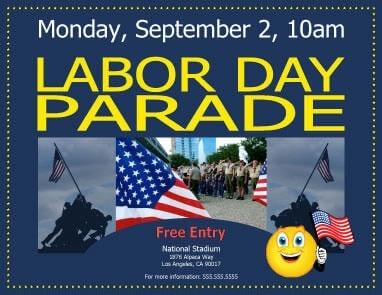 Labor Day Parade Invitation Template