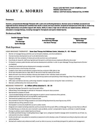 Lead Massage Therapist Resume