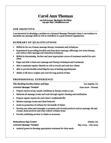 Licensed Massage Therapist Resume