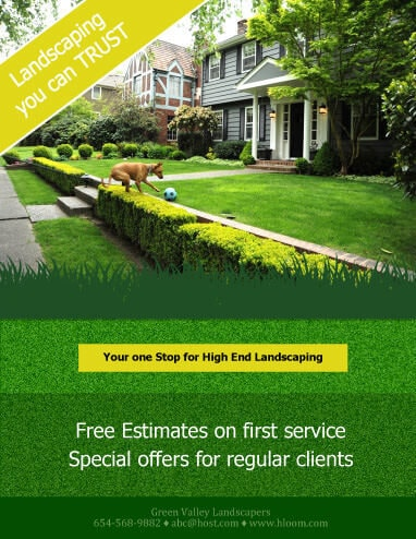 MInimum Text Design Landscaping Flyer Template