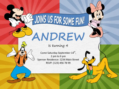 Mickey Mouse Kids Party Invitation