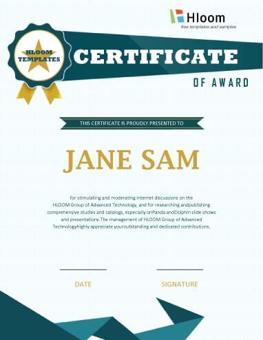 Certificat de récompense moderne