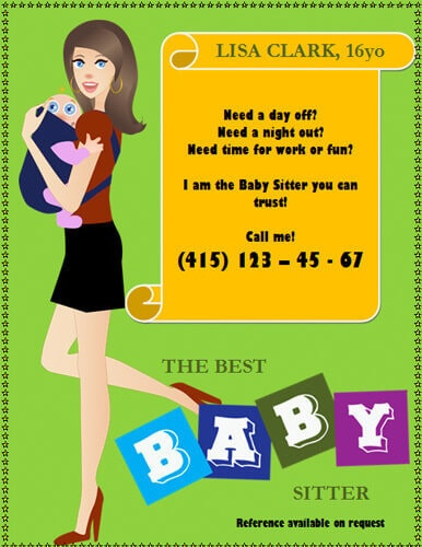 Mother time off baby sitting flyer