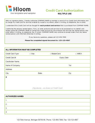 Multiple User Credit Authorization Form