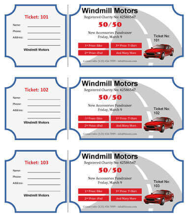 On the Road Raffle Ticket Template