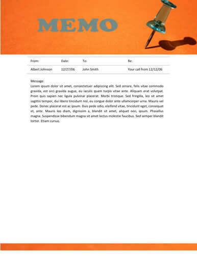 Orange header pin memo template