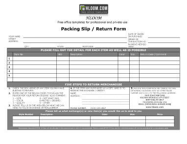 Packing Slip With Return Form  Packing Slip