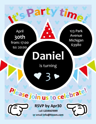 Party with Mickey Invitation