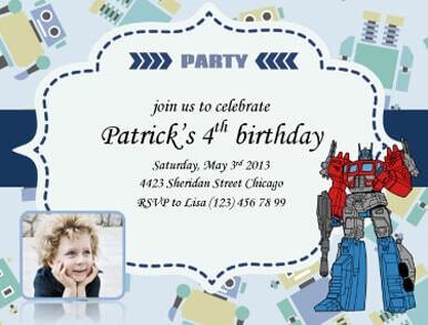 Patrick Robot Party Invite