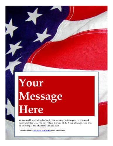 Volantino patriottico con bandiera americana