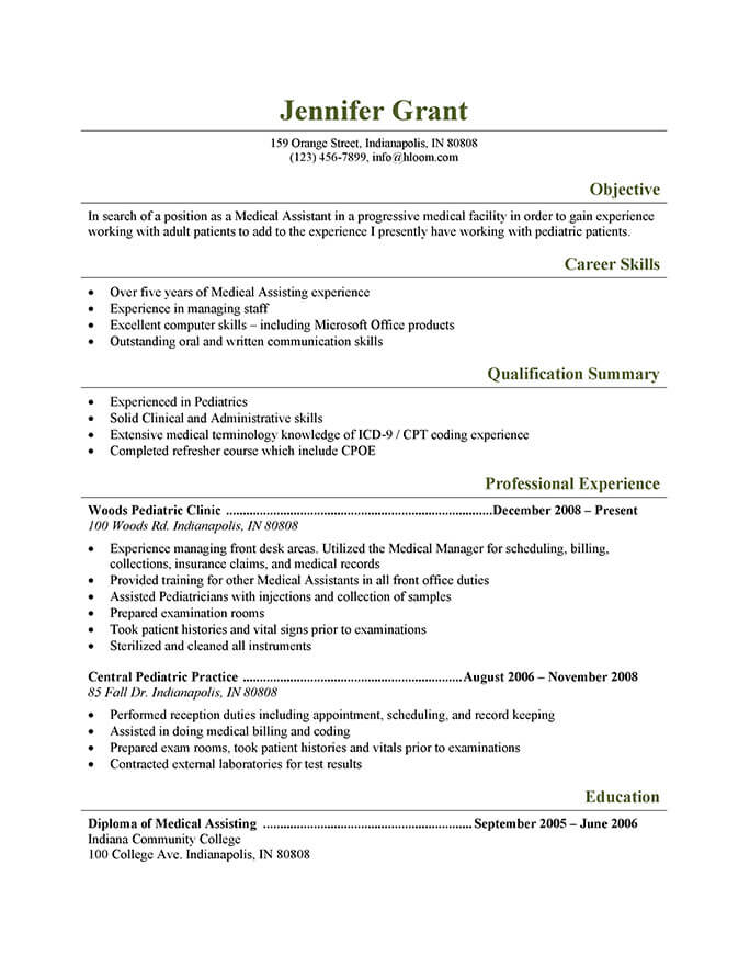 resume of a medical assistant