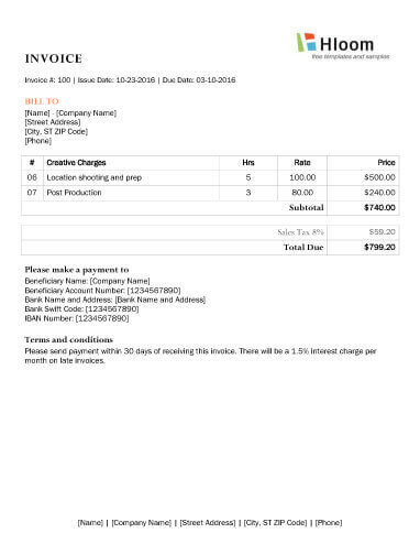 Photography Invoice Time plus Cost Word