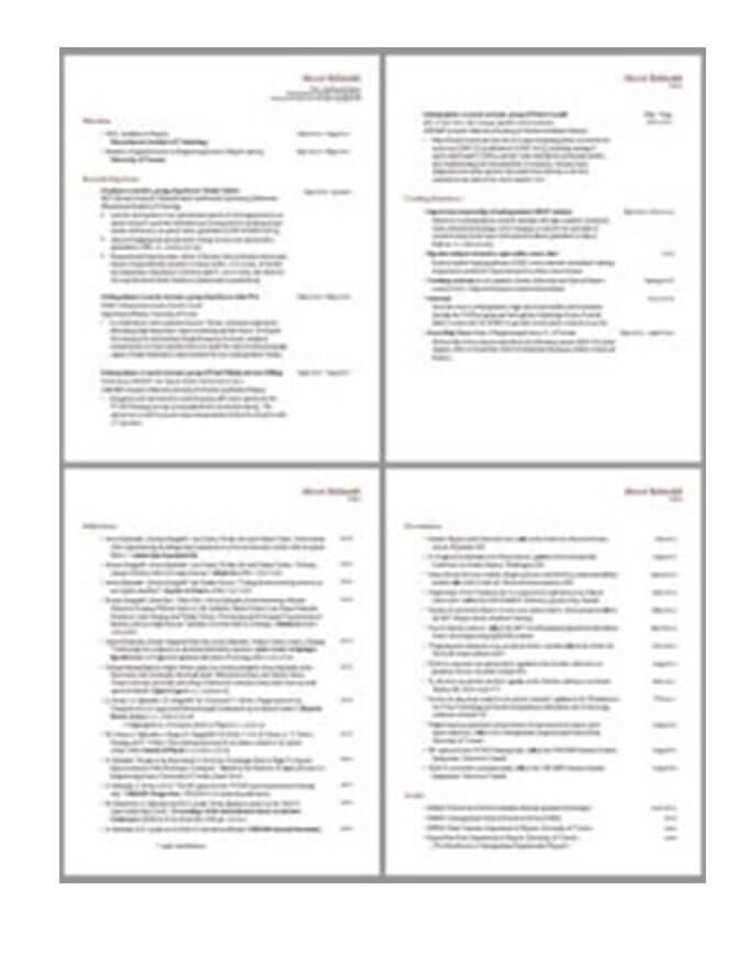 CV de dos páginas