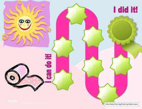 Pink Sticker Potty Reward Chart for Girls