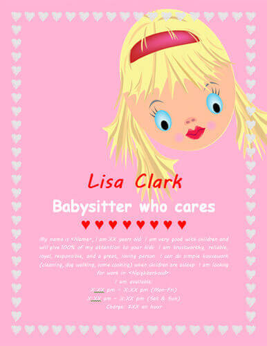 Pink princess baby sitting flyer