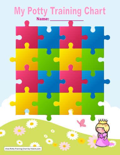 Plantilla de tabla para aprender a ir al baño con puzzle de princesas