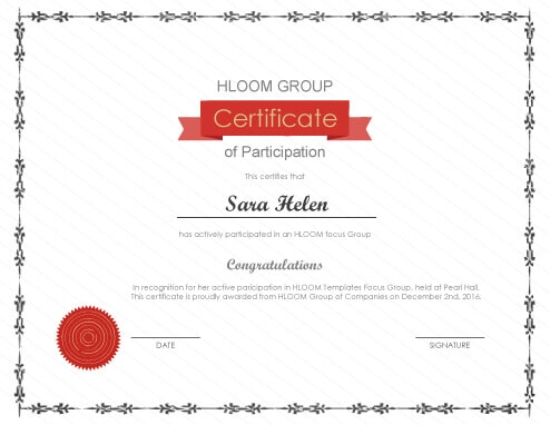 Printable Certificate Of Participation  Design Of Certificate Of Participation