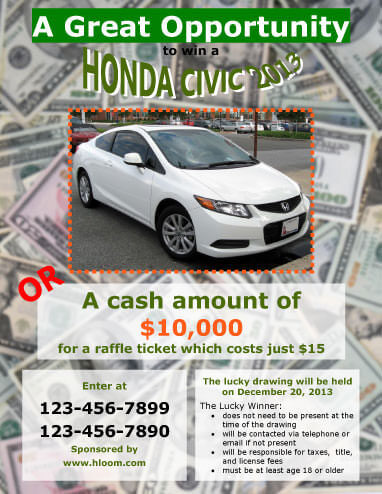 Prize or Cash Raffle Flyer