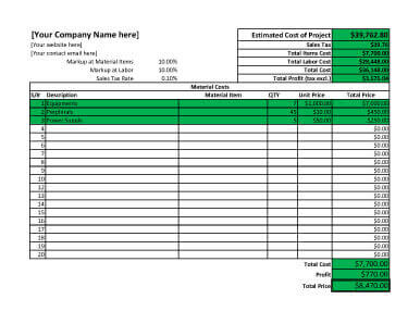 Project-cost-and-profit-estimate