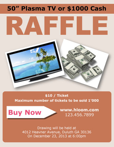 raffle flyer template with 2 prizes