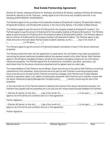 real estate sales contract template