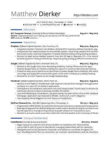Real Software Engineering Internship Resume