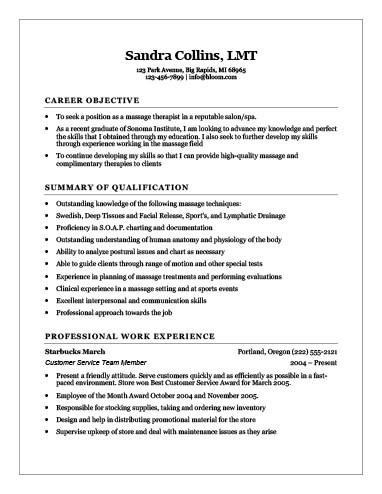 Recent Graduate Massage Therapist Resume