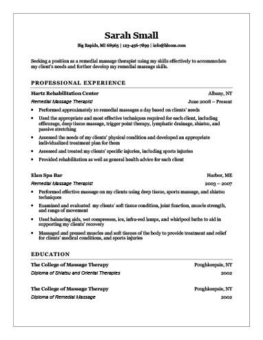 Remedial Massage Therapist Resume
