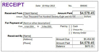Rental Receipt In Excel  Invoice For Rent