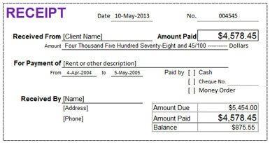 Rental receipt in Excel