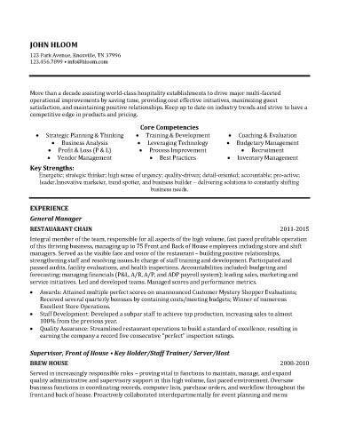 Restauarnt General Manager Resume Sample