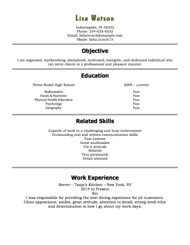 restaurant resume example - Inexperienced Resume Examples