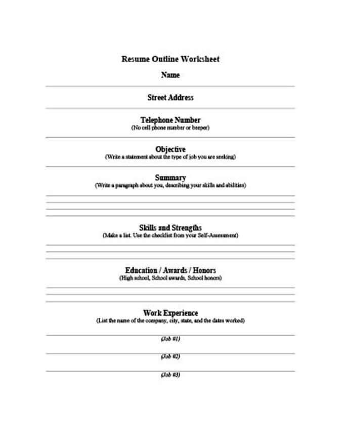5 customizable resume outline templates and worksheets