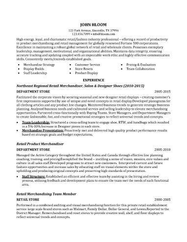 Retail Merchandiser Resume Sample
