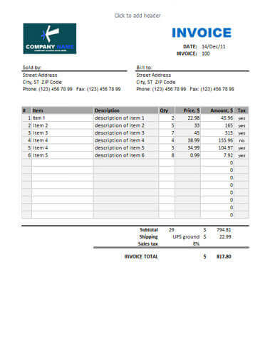 Sales invoice calculating total blue