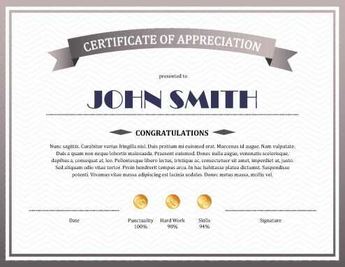 8 free printable certificates of appreciation templates sample certificate of appreciation yadclub Gallery