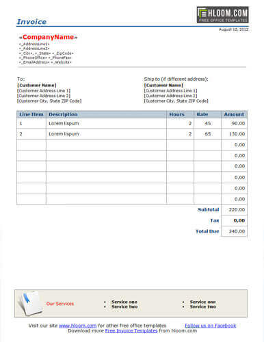 Sample of Invoice Template for Word