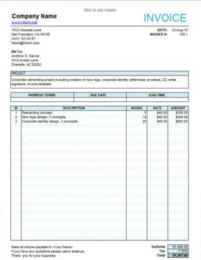 Free Invoice Templates For Any Business In Excel And Word - Whats a invoice online furniture stores