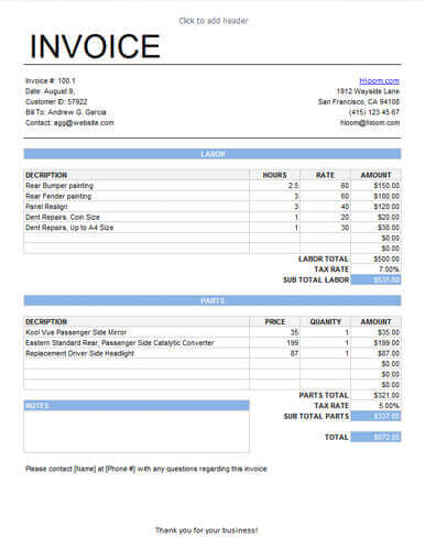 Service Invoice for Labor and Parts with different tax rates