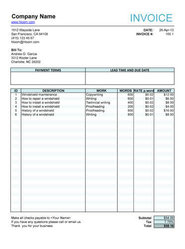 Service Invoice for article writers