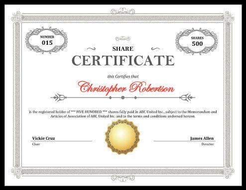 Printable stock certificate free download for Stock certificate template