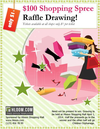 Shopping Spree Raffle Drawing flyer template
