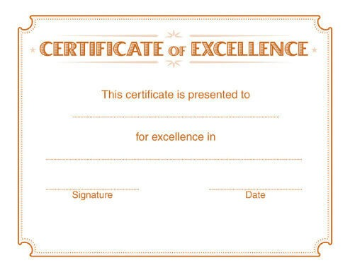 5 Free Printable Certificates of Excellence Templates – Certificates of Excellence Templates