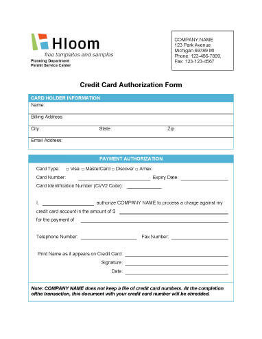 Credit Card Authorization Form  SaveBtsaCo